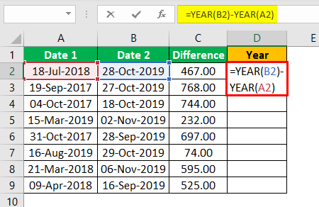 Subtract Date in Excel Example 1.6