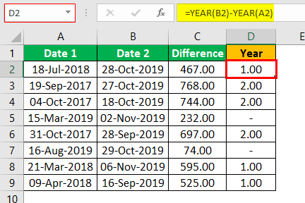 Subtract Date in Excel Example 1.8