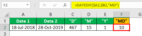 Subtract Date in Excel Example 2.3
