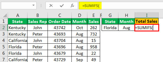 Sumifs with Multiple Criteria - Example 1.3
