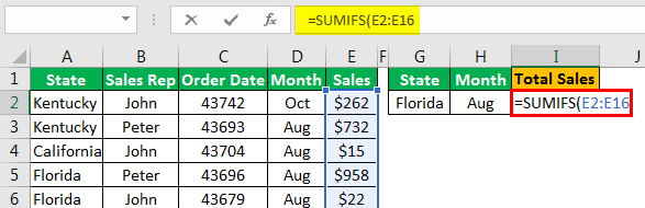 Sumifs with Multiple Criteria - Example 1.4