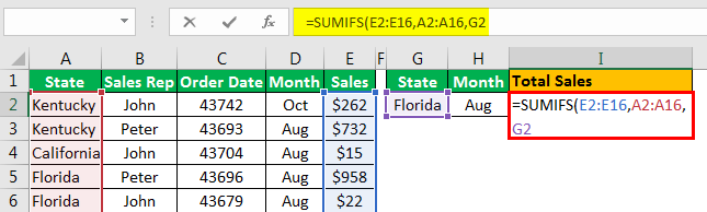 Sumifs with Multiple Criteria - Example 1.6