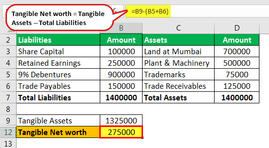 Tangible Net Worth Formula - Example 1.4