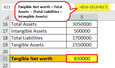 Tangible Net Worth Formula - Example 2.4