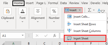 Excel New Sheet Shortcut Example 1.4