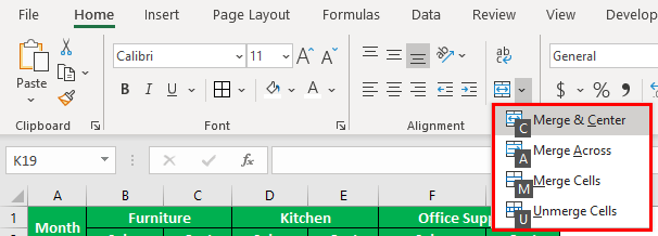 Excel Shortcut for Merge and Center Example 1.10