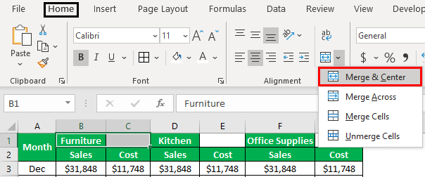 Excel Shortcut for Merge and Center Example 1.2