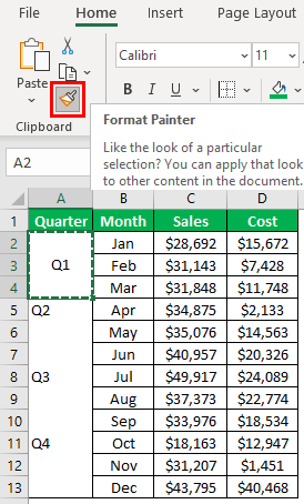Excel Shortcut for Merge and Center Example 2.2