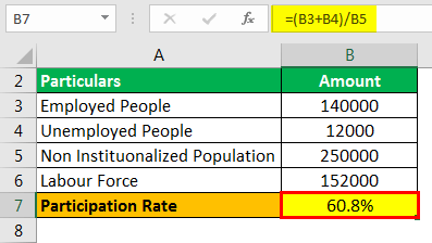 Participation Rate Formula Example 1.3