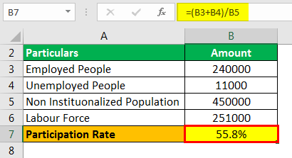 Participation Rate Formula Example 2.3