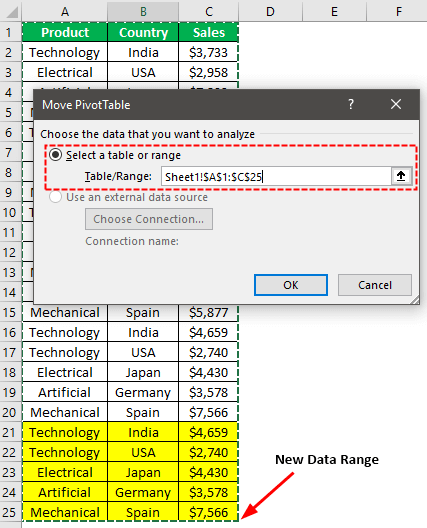 Pivot Table Update Example 2-3