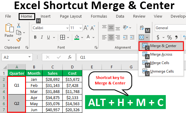 Shortcut for Merge and Center in Excel