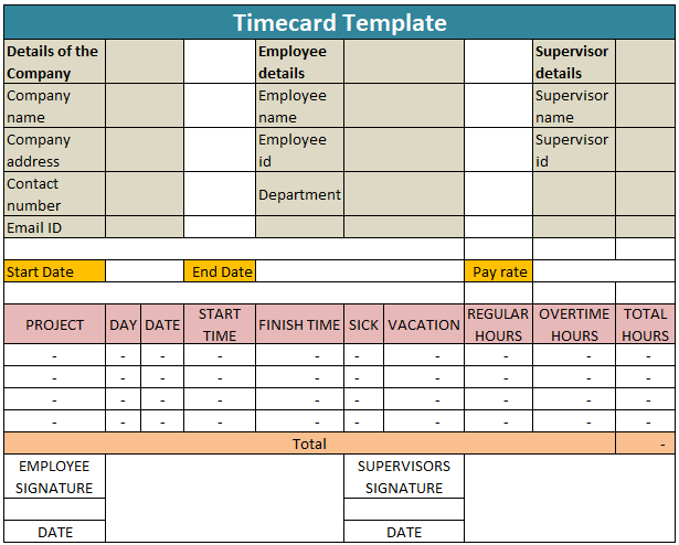 Time card Template