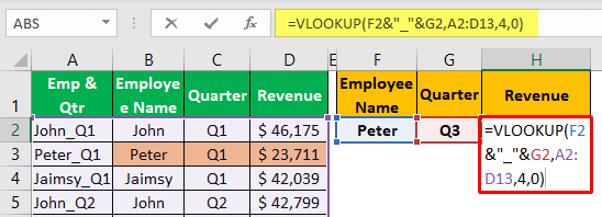 Vlookup Two Criteria - Example 1-7