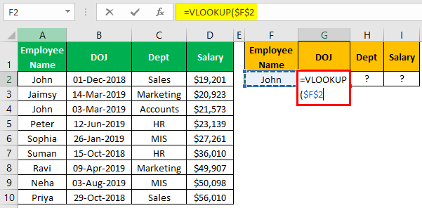 VLOOKUP Names Example 2.1