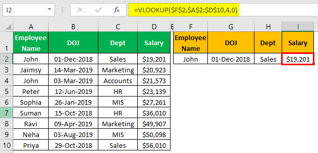 VLOOKUP Names Example 2.12