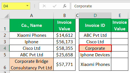 VLOOKUP Partial Match - Example 1-1