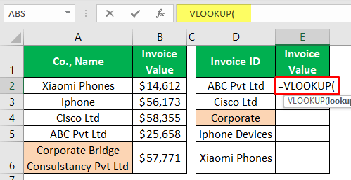 VLOOKUP Partial Match - Example 1-2