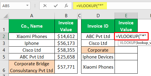 VLOOKUP Partial Match - Example 1-3