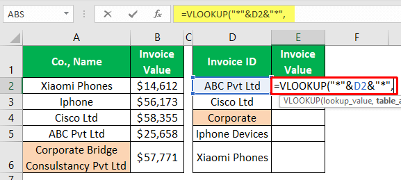 VLOOKUP Partial Match - Example 1-5