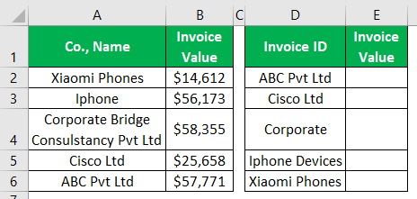 VLOOKUP Partial Match - Example 1