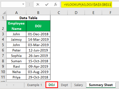 VLOOKUP on Different Sheets Example 1.18