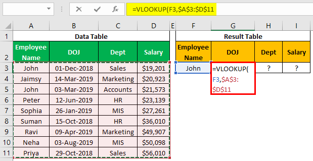 VLOOKUP on Different Sheets Example 1.5.0