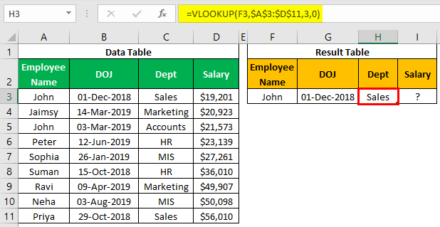 VLOOKUP on Different Sheets Example 1.9.0