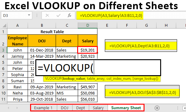VLOOKUP on Different Sheets
