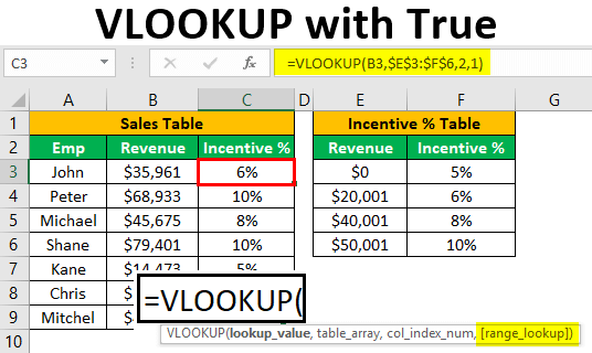 VLOOKUP with True