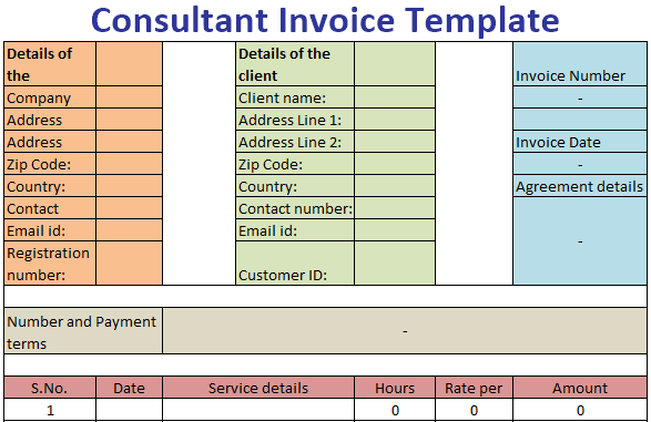 Consultant Invoice Template Free Download Ods Excel Pdf Csv