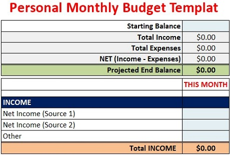 Personal Monthly Budget Template Free Download Excel Csv Pdf
