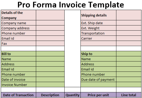 Pro Forma Invoice Template Free Download Excel Pdf Csv Ods
