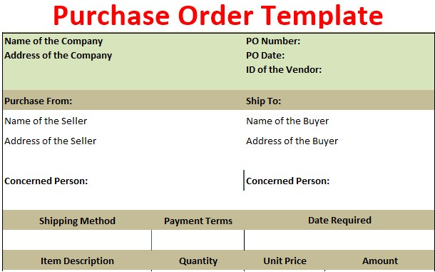 Purchase Order Template Free Download Pdf Excel Csv Ods