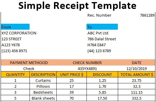 Simple Receipt Template Free Download Ods Excel Pdf Csv