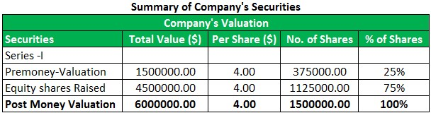 Capitalization Table Example 1