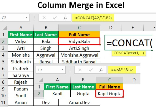 Column Merge in Excel