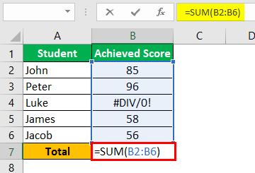 Div0 Error in Excel Example 2