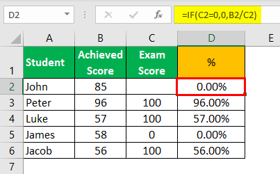 Div0 Error in Excel Example 5.1