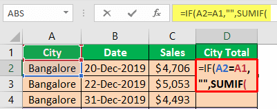 Excel Group Sum - Example 2-4