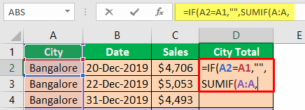 Excel Group Sum - Example 2-5