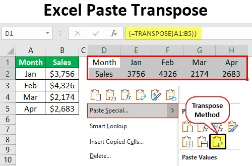 Excel Paste Transpose