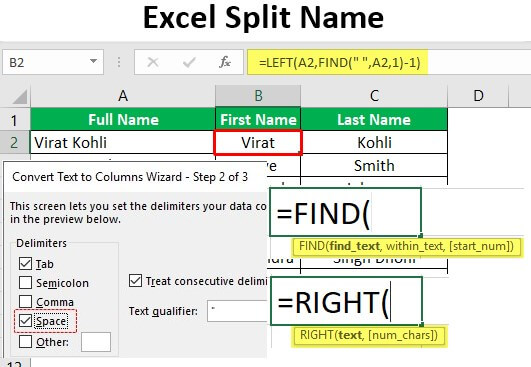 Excel Split Name