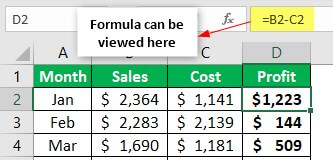 Hide Formulas Example 1-13