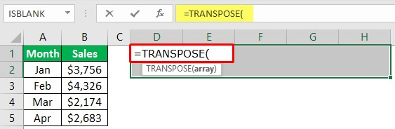 Excel Paste Transpose Function 1-3