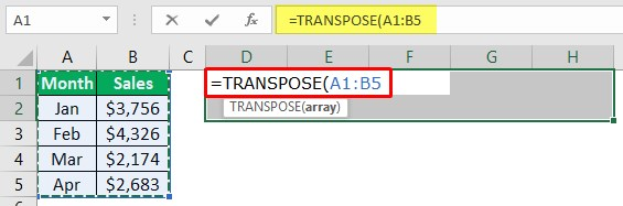 Excel Paste Transpose Function 1-4
