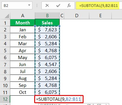 Using Subtotal Function 1-2