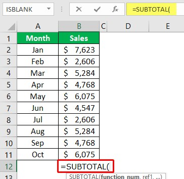 Using Subtotal Function 1