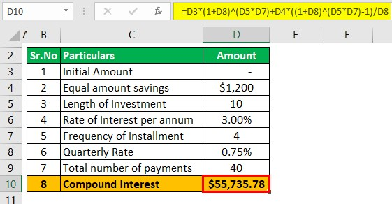 Compound Savings calculator Example 1-3