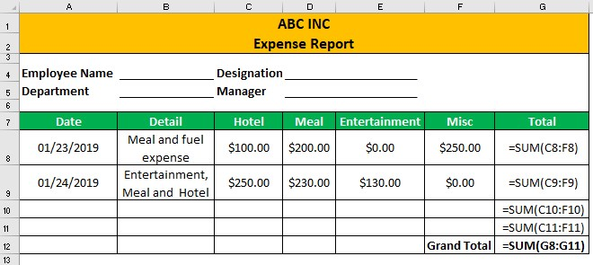 Expense Report Example 1-1